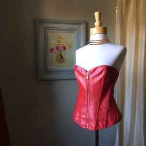 Other - Faux Leather Red Wonder Woman Corset L/XL NWOT